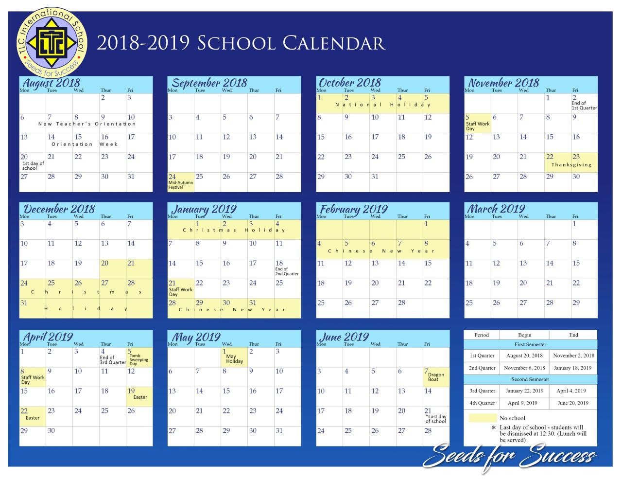 TLC School Calendar 2018-2019